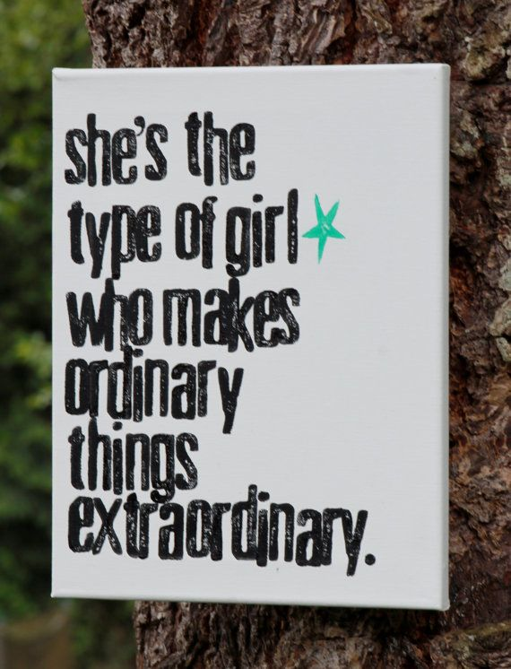 """Extraordinary girl"" acrylic hand stamped on 11x14 canvas by Houseof3"