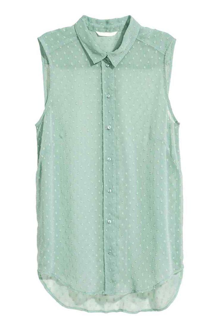 Mouwloze blouse - Mintgroen - DAMES | H&M NL