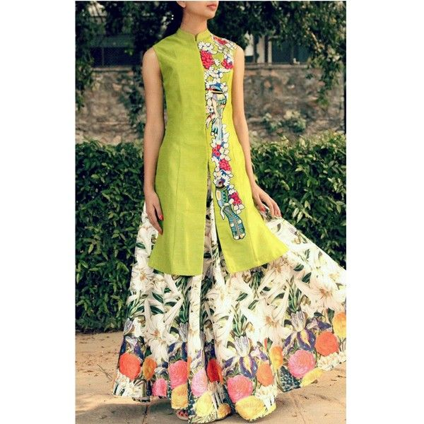Green And White Printed Salwar Suit