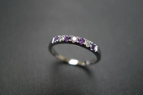 Diamond and amethyst wedding ring