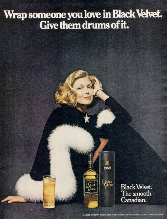 1972 Black Velvet Canadian Whisky Ad Blonde Model by AdVintageCom