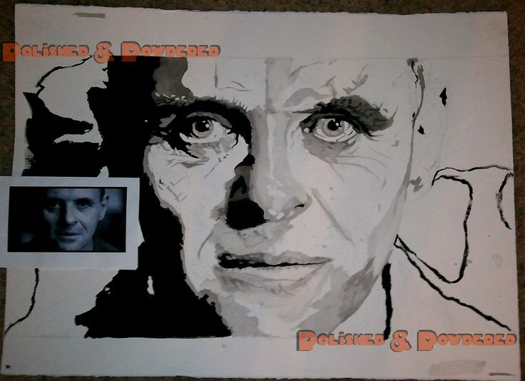 The Silence Of the Lambs WIP (commission; I forgot to get a photo of the finished painting before I sold it off)