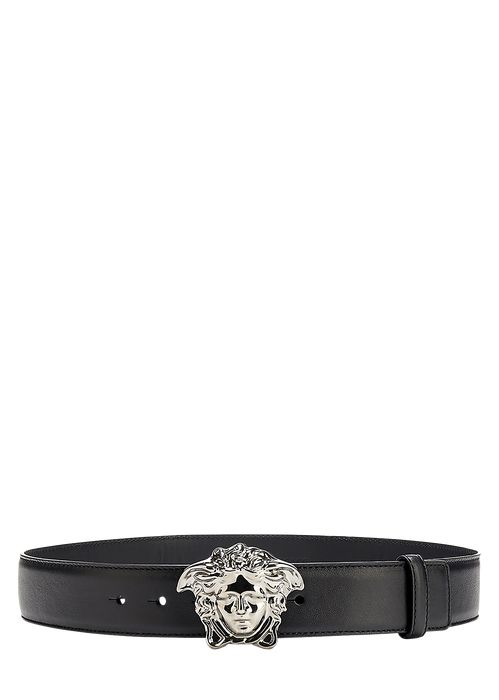Versace Palazzo Belt with Medusa Buckle for Men | Official Website. Belt with Medusa Head Buckle by Versace Men's Accessories. The emblem of the Versace house: a Medusa head buckle is the finishing touch on this leather belt.