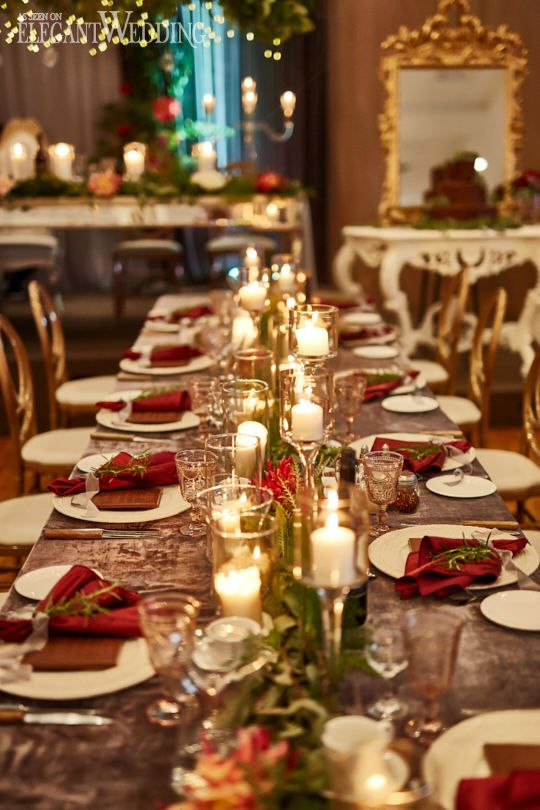 Red and Gold Wedding Table Setting, Candle Wedding Ideas #weddingtable #redwedding #fallwedding #tablesetting