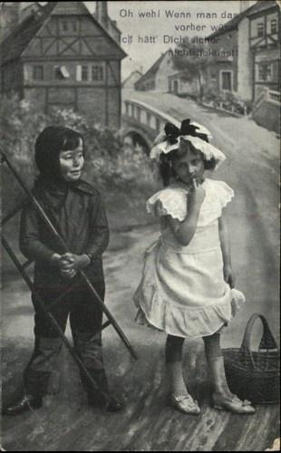 Children Little Boy Chimney Sweep & Little Girl - German Verse c1910 Postcard | eBay
