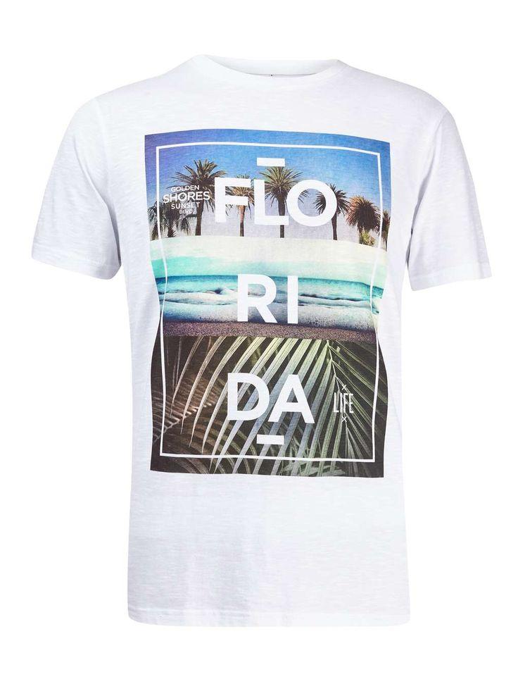White Flo-Ri-Da Print T-Shirt - Mens T-Shirts & Vests - Clothing - Burton Menswear