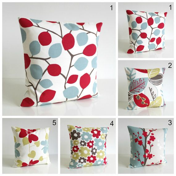 Scandinavian Cushion Cover, 18x18 Pillow Sham, 18 Inch Pillow Cover - Nordic Red Collection