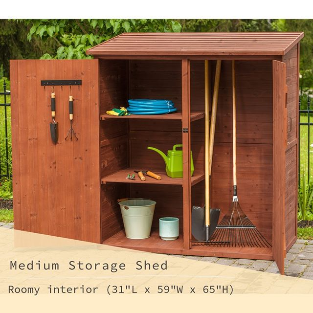 Enhance Any Outdoor Space With Our Spacious Medium Storage Shed The Two Adjustable Shelves Keep Large And Small Items Organ Wood Storage Sheds Tool Sheds Shed