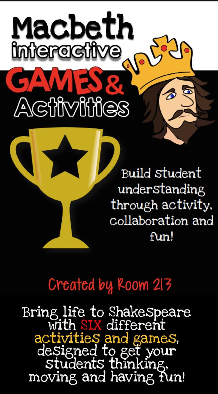 Fun, movement and Macbeth--what more could you ask for? Check out these free games and activities in Room 213. #Macbeth