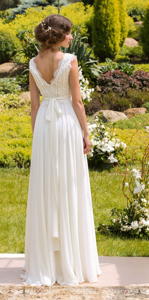 Designer Wedding Dress Wedding Gown Bohemian Wedding dress Made from Chiffon, French  lace , natural silk with pearls on Etsy, $850.00