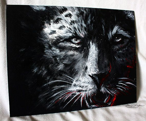 African Leopard Big Five Original Painting - Realistic Big Cat Fine Art with Acrylic Paint on Canvas - 11x14  $150.00 USD