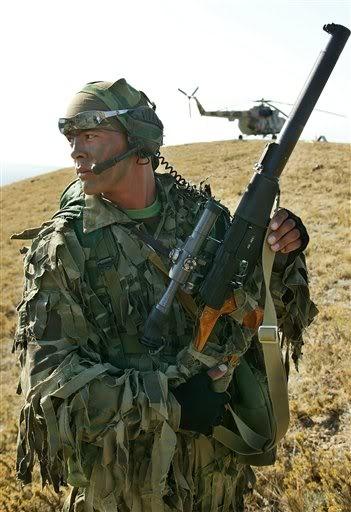 Russian Spetsnaz sniper with his VSS Vintorez internally suppressed rifle