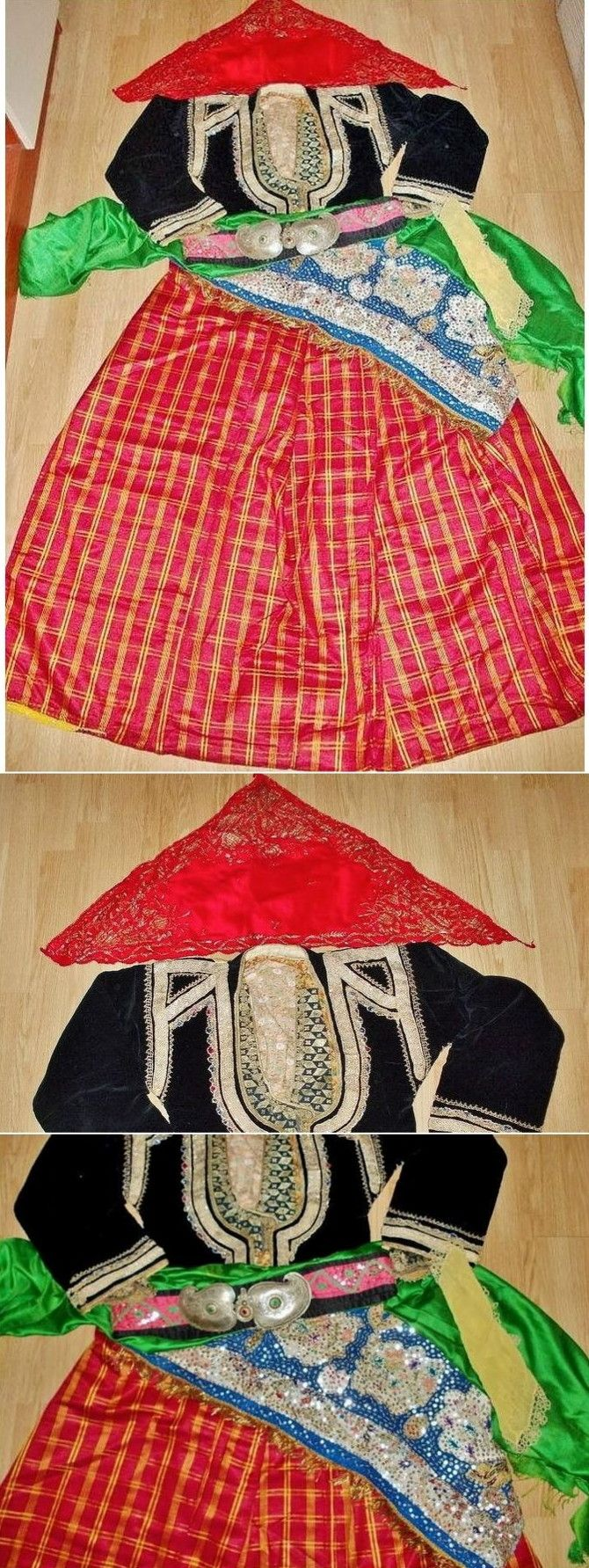 Traditional festive costume from Sille (near Konya), Turkish, ca. 1925-1950.  With red headscarf, shirt, black vest, green 'kuşak' (sash), belt with silver buckle, 'arkalık' (triangular waist shawl) and red silk baggy trousers.  Until 1922-24 the village was inhabited by Rum people (Anatolian Greeks); after they left the village (population exchange of 1922), the new Turkish inhabitants adopted some parts of the former traditional Greek costumes. (Source: Antika Osmanlı Tekstil, Istanbul).