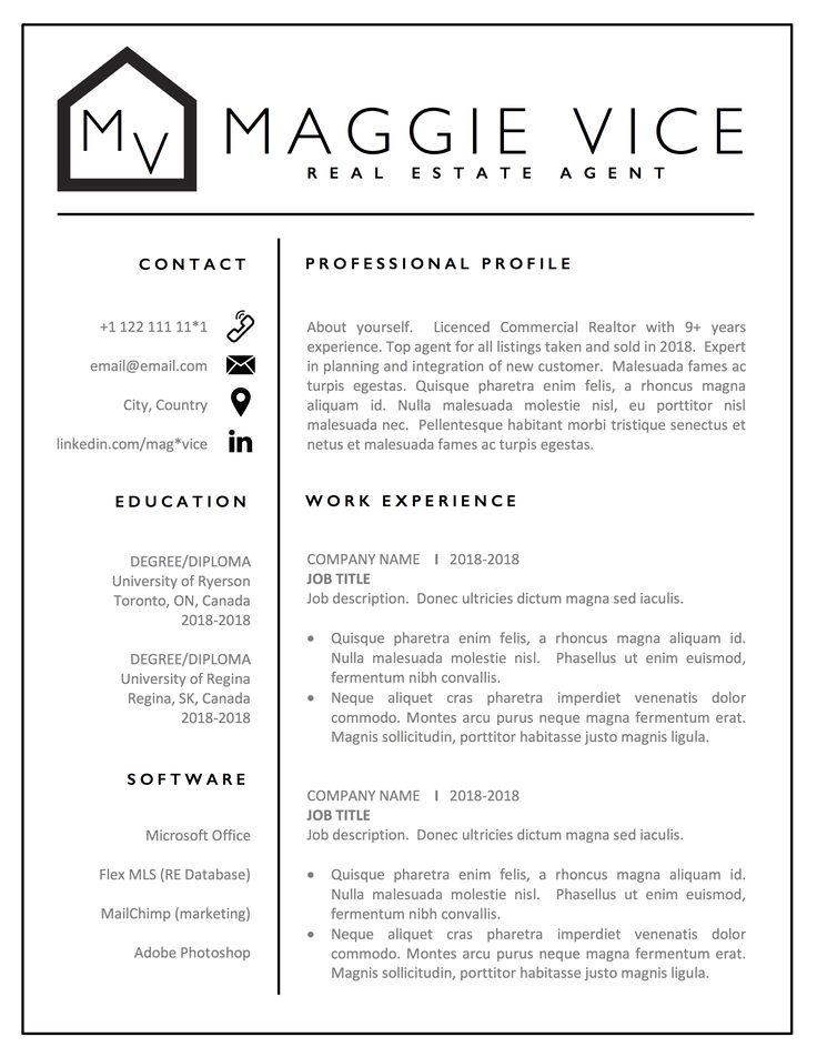 Real Estate Resume Template Word Realtor & CV Resume