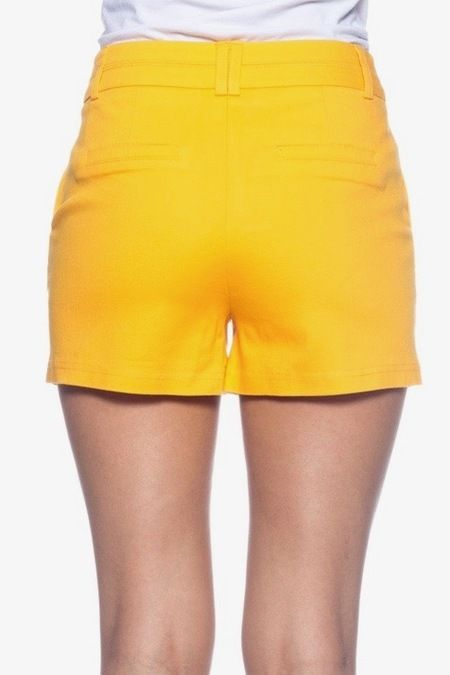 Women's Yellow Shorts. These shorts have a very flattering cut that elongate the legs and makes them appear slimmer.