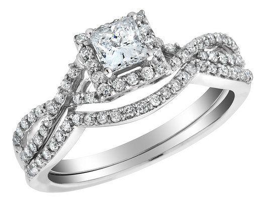 Simple Infinity Princess Cut Diamond Engagement Ring u Wedding Band Carat ctw