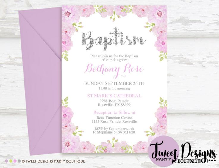 84 best christening invitations images on pinterest convites para purple floral christening invitations baptism invitation print yourself christening printable baptism printable stopboris Images
