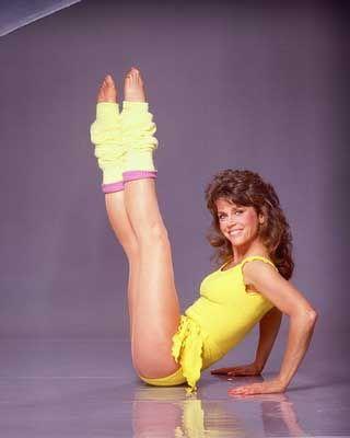 James Fonda, anos 80 uso de polainas que se tornou um soa acessórios mais característicos da era do fitness.