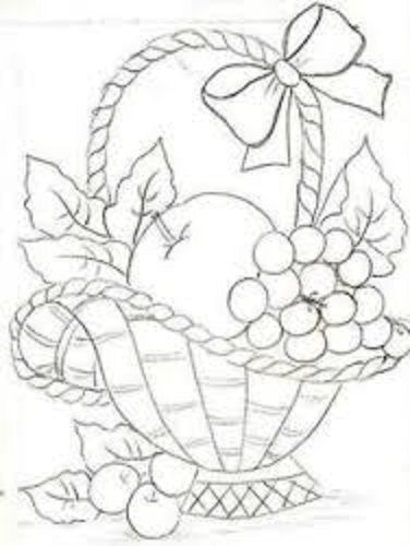 risco para pintura em tecido pano de prato cesta frutas