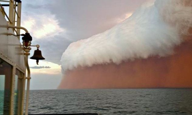 "Mother Nature put on a spectacular display off the coast of Onslow yesterday, (Jan. 9, 2013) where a menacing-looking storm was captured on camera by a tug boat worker.""It was like a big dust storm under a thunderhead, there was a lot of lightning but not a lot of rain."""
