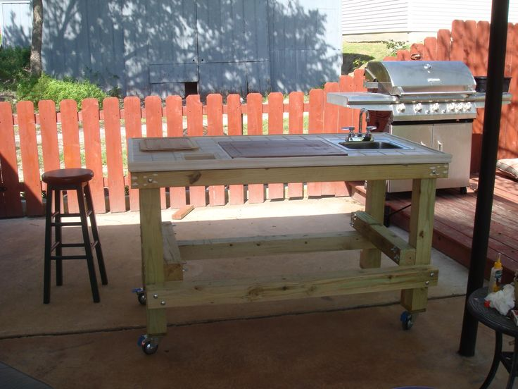 Outdoor grill prep cart creative outdoor ideas for Homemade fish cleaning table
