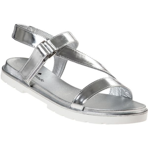 KATE SPADE Mckee Flat Sandal Silver Leather ($89) ❤ liked on Polyvore featuring shoes, sandals, silver leather, velcro sandals, flat sandals, silver metallic sandals, silver shoes and leather sandals