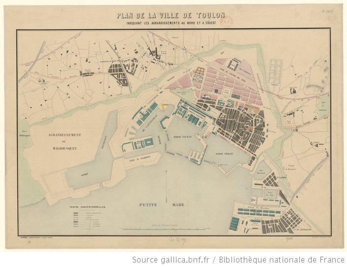 Plan de la ville de Toulon, indiquant les agrandissements au Nord et à l'Ouest - 2e moitié 19e ?
