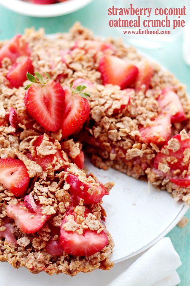 Strawberry Coconut Oatmeal Crunch Pie