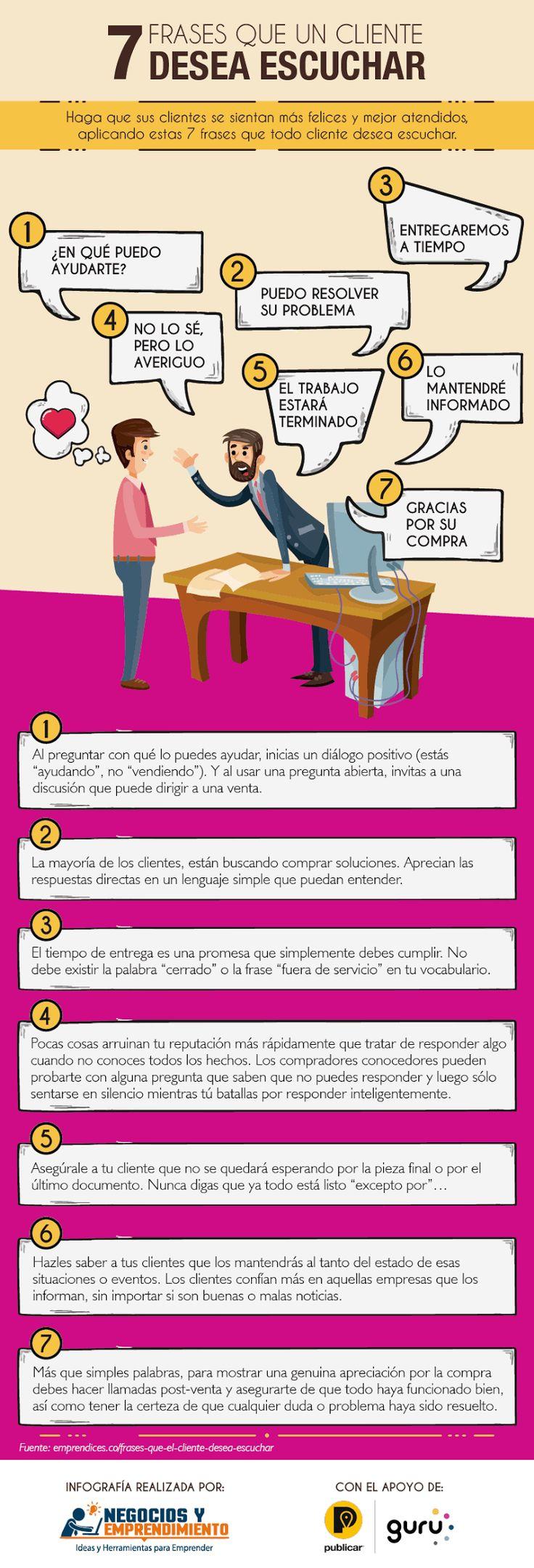 7 frases que tu cliente quiere escuchar #infografia