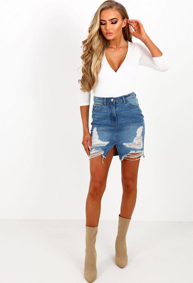 Bend and Snap Mid Blue Distressed Denim Mini Skirt