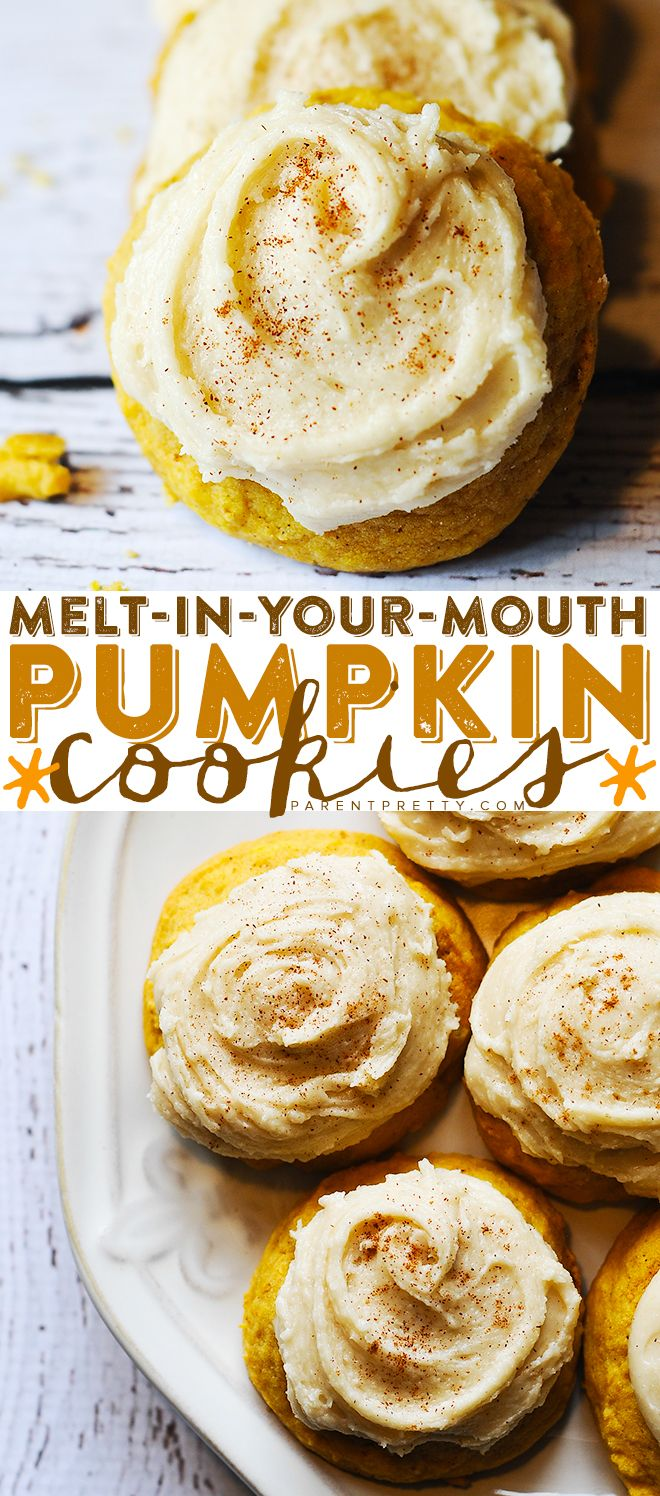 Melt-in-Your-Mouth Pumpkin Cookies - I just made these cookies and they are AMAZING. Perfect pumpkin recipe and perfect pumpkin cookies. Pin it now and make it this fall!