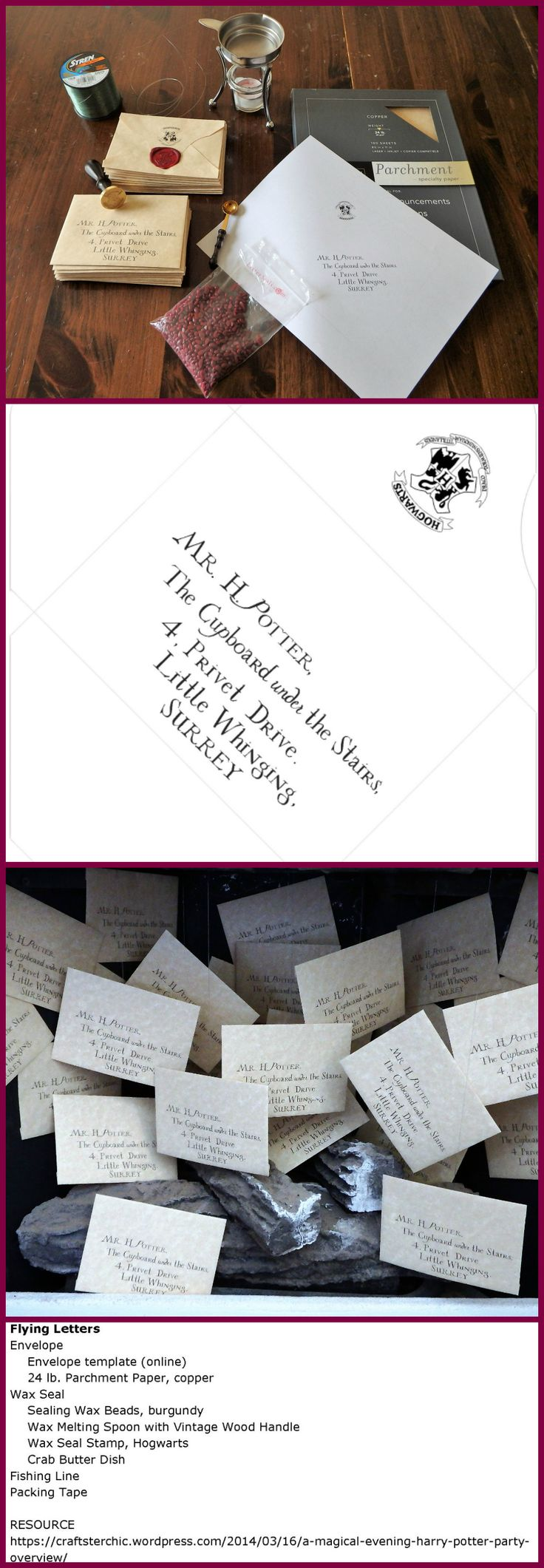 proper friendly letter format%0A Harry Potter Inspired Flying Hogwarts Letters