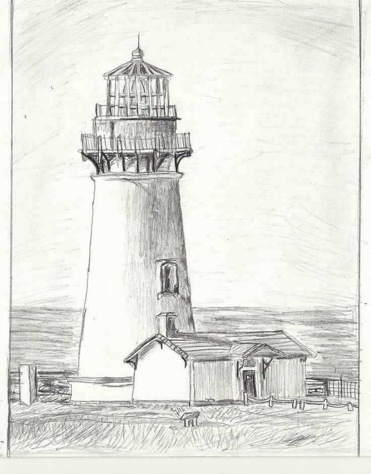 House Drawing Color: Yaquina_head_lighthouse_drawing__increased_shading_by