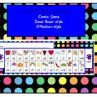 A simple alphabet desk strip with a polka dot background.  Print off and laminate for durability.  2 strips per A4 page.  3 fonts (feel free to req...