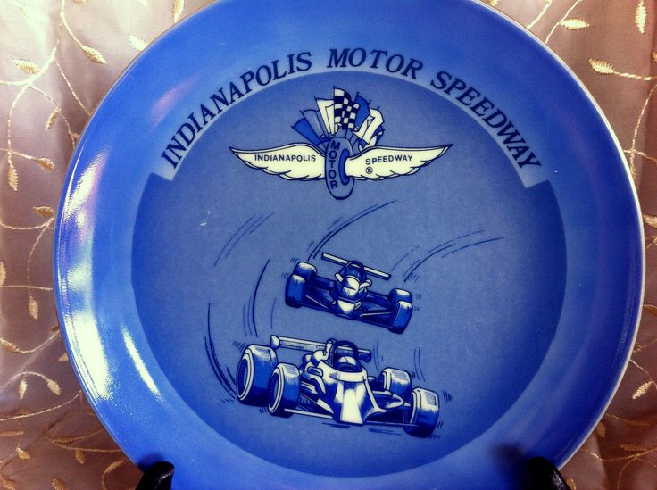"""Indianapolis Motor Speedway souvenir plate 8.5 """" Two Indy cars Speedway logo Race track name Blue and White Sports memorabilia Car racing by STUFFEZES on Etsy"""