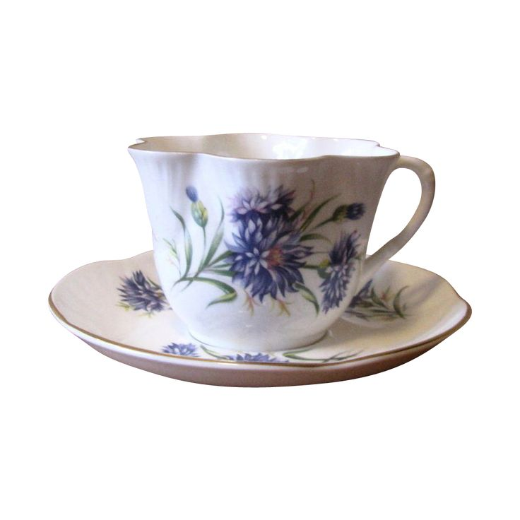 Vintage 1950's Crown Staffordshire Purple Aster Teacup and Saucer Set at whimsicalvintage.rubylane.com