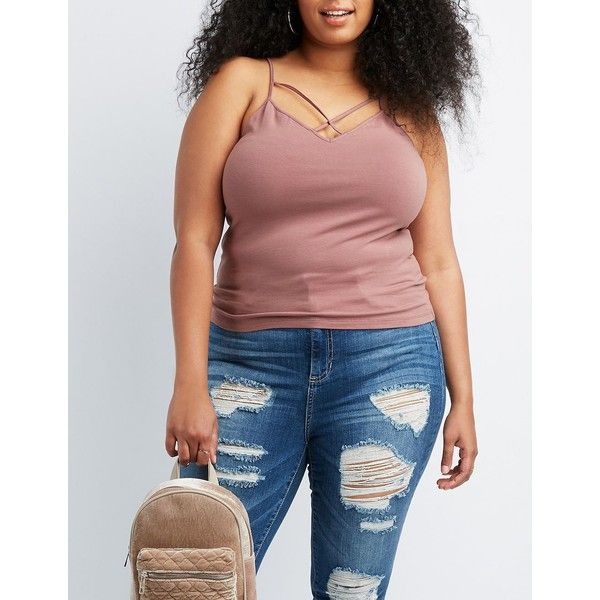 Charlotte Russe Strappy Cami Tank Top ($6) ❤ liked on Polyvore featuring plus size women's fashion, plus size clothing, plus size intimates, plus size camis, mauve, charlotte russe, sexy cami, strappy cami, plus size cami and v neck cami