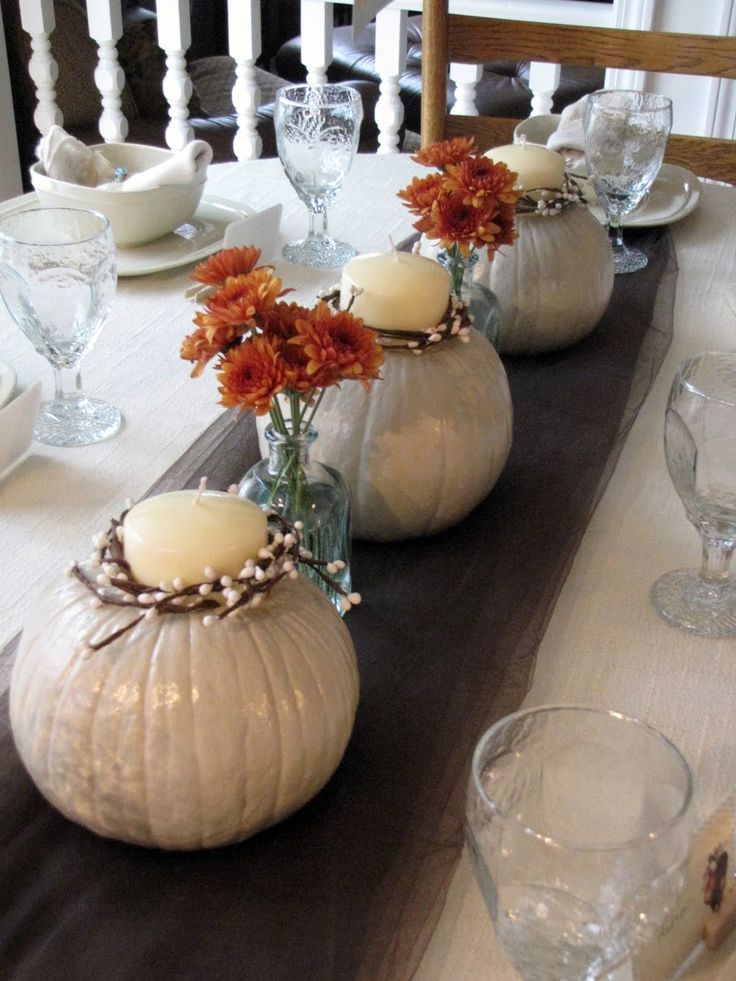 White pumpkins centerpieces fall wedding shower for Fall table