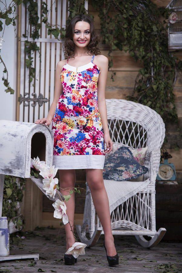 Платье 4229 Летнее платье из натуральной ткани Материал Лен Длина: 85 см | Летние платья