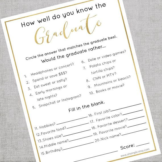 Graduation Party Games Digital Download | Graduation Party Decorations | How Well Do You Know the Graduate Printable | Graduation Game