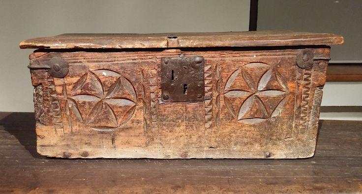 Big wooden box with six petal rosette motif. Finland, 1800AD.