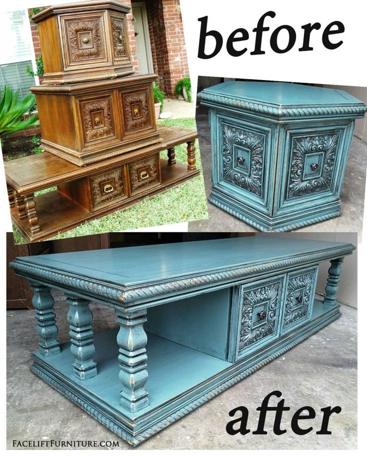 Sea Blue Chunky Coffee & End Tables - Before & After. From Facelift Furniture's DIY Blog.