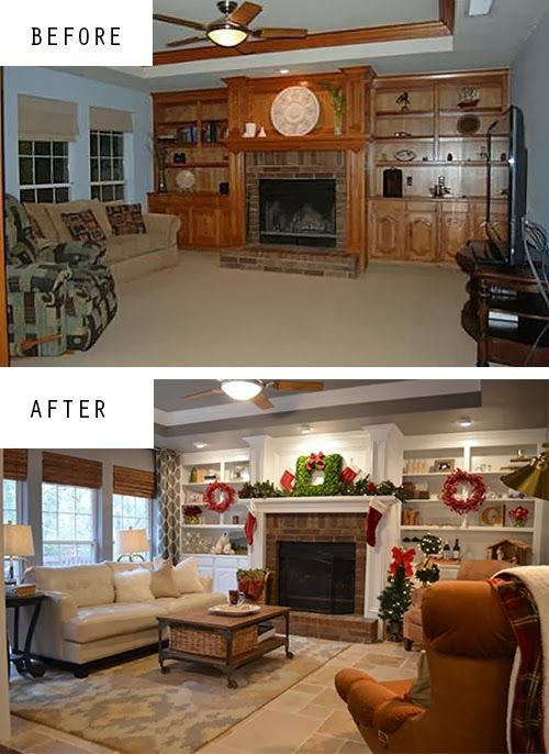 Den makeover with painted built-ins, new travertine floors, Benjamin Moore Galveston Grey on the walls, @west elm curtains and @Target rug.