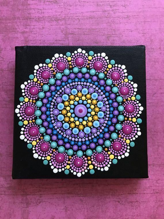 Mandala de acrílico pintura pintada a mano original