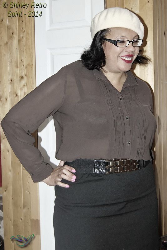 Beret and a little sheer blouse