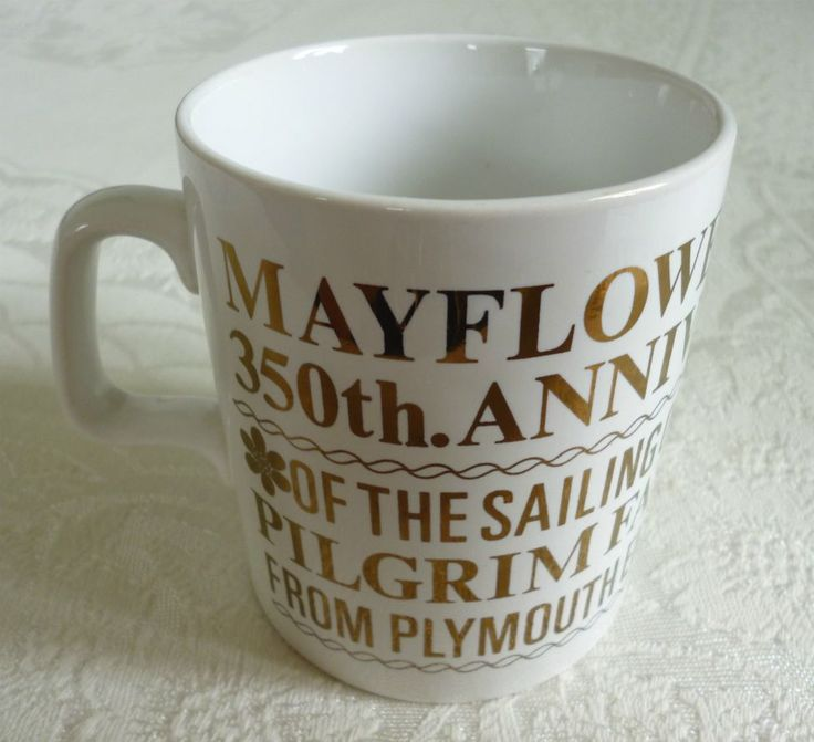 Mayflower 1970 350th anniversary of sailing of Pilgrim Fathers Plymouth 1620 commemorative mug by Staffordshire Potteries An original vintage