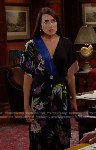 Quinn's floral kimono sleeve jumpsuit on The Bold and the Beautiful.  Outfit Details: https://wornontv.net/68659/ #TheBoldandtheBeautiful