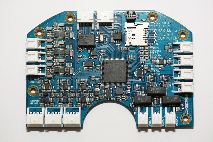 https://flic.kr/p/orxFE1 | M2FC | The soldered up M2FC board, Martlet 2's flight computer.  The flight computer features three K-type thermocouple inputs, three strain gauge half-bridge inputs, three 1A pyrotechnic outputs, a full IMU (±20g and ±200g 3axis accelerometers, 3axis gyro and magno, barometric pressure), a micro SD card for datalogging and a serial interface to the radio and other peripherals. It's powered by an STM32F405VGT7 32-bit ARM microcontroller.  Fore more details on the…