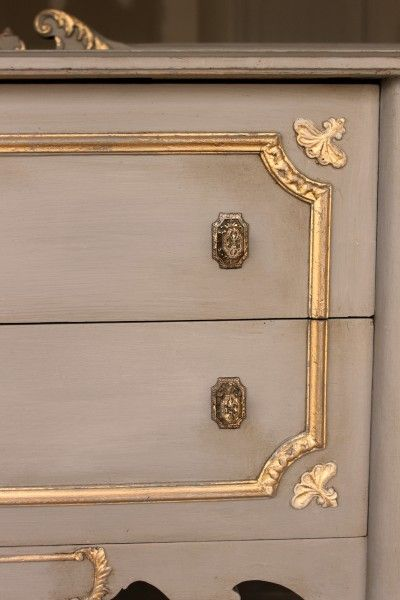 Gilded Buffet: Grey & Gold: Atelier One Step paint with gold leaf.  See the full piece at WrenWillowDesigns.com