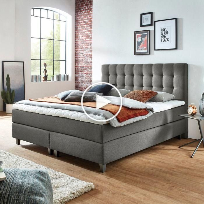 Sommier Tapissier Ergodream Lund 180 X 200 Cm Tissu Gris Fonce Matelas A Ressorts Relooking Chambre Idee Chambre